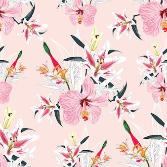 シームレスパターンリリー、楽園の鳥とハイビスカスの花の背景。水彩手描き。