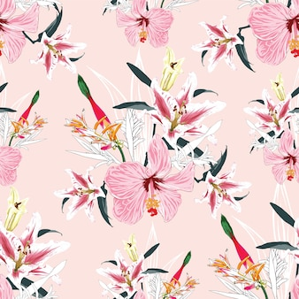 Seamless pattern lilly,bird of paradise and hibiscus flowers  background.  watercolor hand drawn.