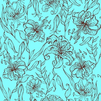 Seamless pattern of lily flowers on turquoise.