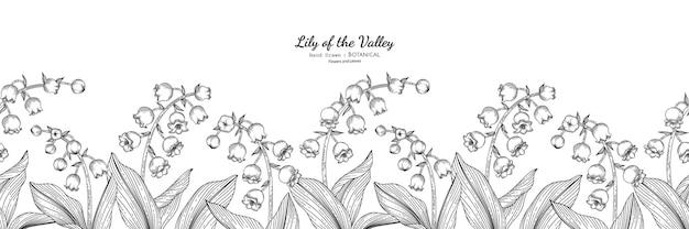 원활한 패턴 은방울꽃과 잎 손으로 그린 식물 삽화가 라인 아트로 그려져 있습니다.