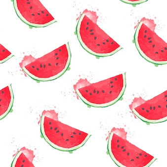 Seamless pattern of lily watermelon slice in watercolour style