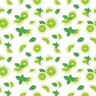 Seamless pattern of lime slices and mint leaves on white