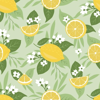 Seamless pattern of limes or lemons nature background with tropical leaves and beautiful flowers
