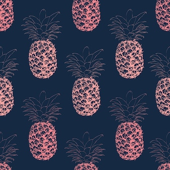Seamless pattern line art pink pineapple on dark blue background.