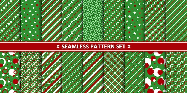 Seamless pattern line circle star set, paper wrap,  green red white.