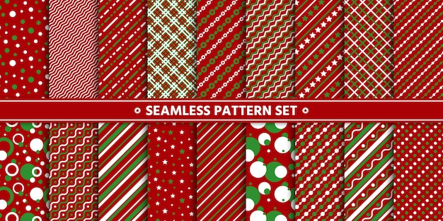 Seamless pattern line circle star set, paper wrap,  red white green.