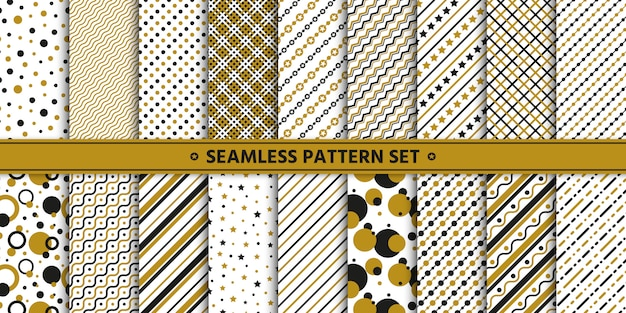 Seamless pattern line circle star set, paper wrap,  white gold black.