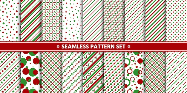 Seamless pattern line circle star set, paper wrap,  white red green.