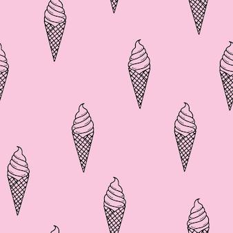 シームレスなパターン。エレガントなワッフルコーンのリニアアイスクリーム。夏のメニュー。最小限のデザイン