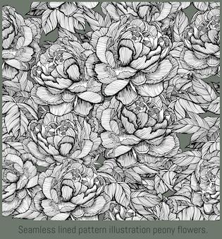 원활한 패턴 줄지어 그림 손으로 그린 피 모란 꽃의 예술.