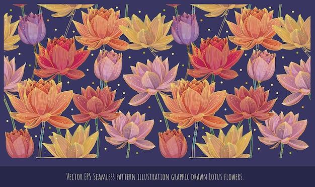 カラフルな咲く蓮のシームレスなパターンの裏地イラスト手描きアート。