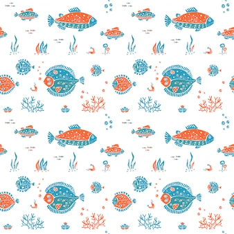 Seamless pattern in lino style