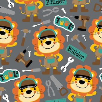 Seamless pattern of lion mechanic cartoon with its tools
