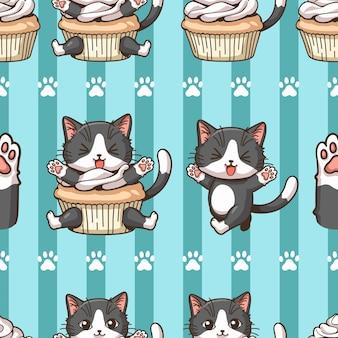Seamless pattern little cat cartoon wearing a cupcake dress blue green stripes background