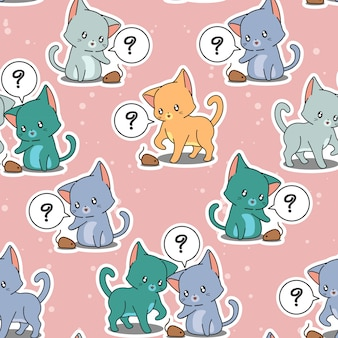 Seamless pattern little cats are playing baby mousy.
