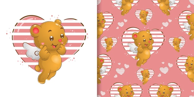 The seamless pattern of little fairy bear with the wings giving a lot of love in her expression of illustration