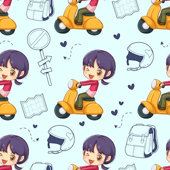 Seamless pattern of little girl riding a motorcycle and accessory, vector