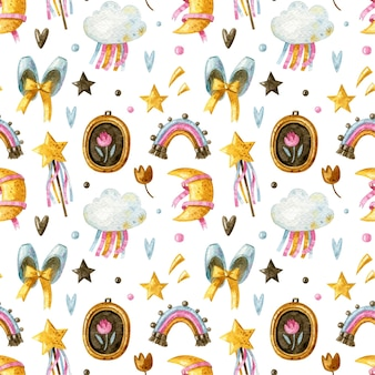 Seamless pattern for little girl with rainbow