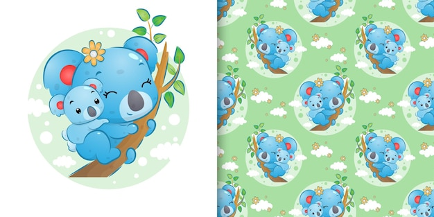 The seamless pattern of the little koala carry her baby on her back and staying on the branch of illustration
