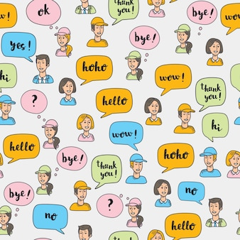 Seamless pattern of  llustrartion of interactive multicolored speech bubbles and avatars of people.