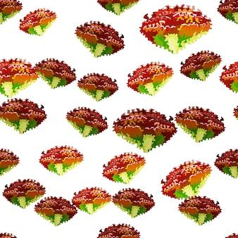 Бесшовный фон салат лола роза на белом фоне. простой орнамент с салатом. случайный растительный шаблон для ткани. дизайн векторные иллюстрации.