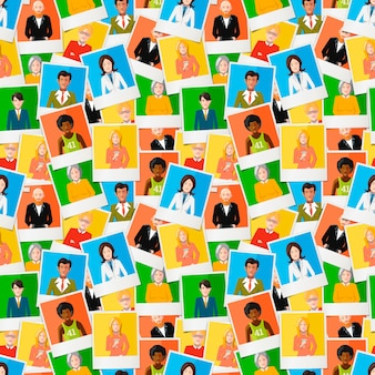 Seamless pattern, a lot of different polaroid instant photos with flat portraits of people