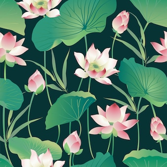 Seamless pattern lotus flowers and leaves. watercolor.