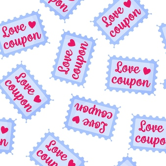 Seamless pattern of love coupons for the wedding or valentine's day.