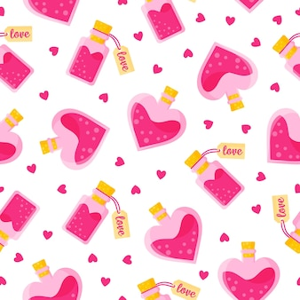 Seamless pattern of love potion in buns of different shapes with tag and heart