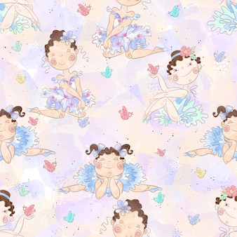Seamless pattern. lovely girls ballerinas.