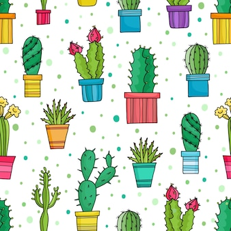 Seamless pattern of lovely green cacti and plants in pots, hand drawn flowers.