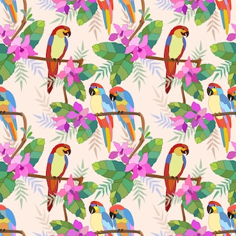 Seamless pattern of macaw on branch with flowers