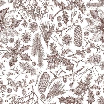 Бесшовный узор из рождественских праздничных растений, ветвей пихты, лиственницы, ели, пуансеттии