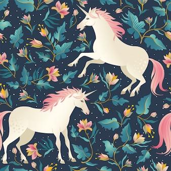 Seamless pattern magic beautiful unicorns background