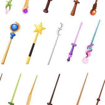 원활한 패턴 마술 지팡이 세트 판타지 직원 컬렉션 평면 그림