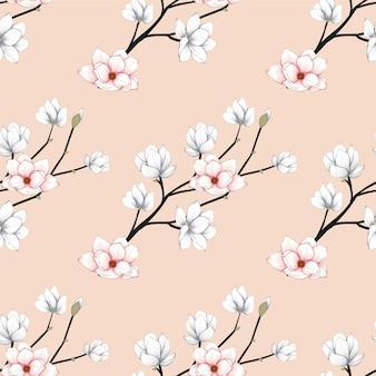 Seamless pattern magnolia flowers background.