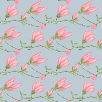 青の背景にシームレスなパターンのマグノリア。春のピンクの花と美しい質感。生地の幾何学的な花のテンプレート。デザインベクトルイラスト。