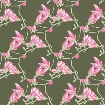 緑の背景にシームレスなパターンのマグノリア。ピンクの花の美しい飾り。生地の幾何学的な花のテンプレート。デザインベクトルイラスト。