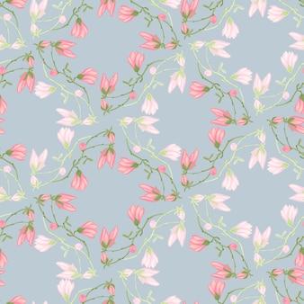 Бесшовный узор магнолии на голубом фоне. красивое украшение с весенними розовыми цветами. геометрический цветочный шаблон для ткани. дизайн векторные иллюстрации.
