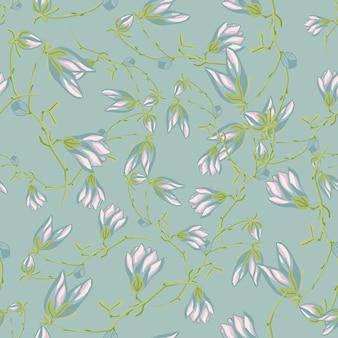 薄緑色の背景にシームレスなパターンのマグノリア。春の花の美しい質感。生地のランダムな花のテンプレート。デザインベクトルイラスト。