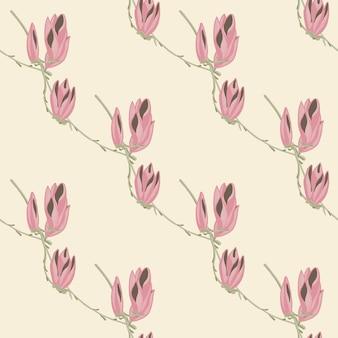 パステルカラーの背景にシームレスパターンマグノリア。花と美しい飾り。生地の幾何学的な花のテンプレート。デザインベクトルイラスト。