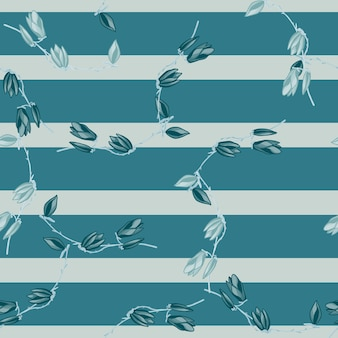 ストライプブルーの背景にシームレスパターンマグノリア。春の花の美しい質感。生地のランダムな花のテンプレート。デザインベクトルイラスト。