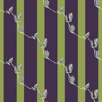 ストライプグリーンの背景にシームレスパターンマグノリア。花のある美しい質感。