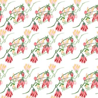 白い背景の上のシームレスなパターンのマグノリア。春のピンクの花と美しい飾り。生地の幾何学的な花のテンプレート。デザインベクトルイラスト。