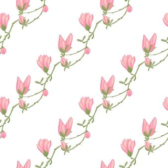 Бесшовные модели магнолии на белом фоне. красивое украшение с весенними розовыми цветами. геометрический цветочный шаблон для ткани. дизайн векторные иллюстрации.