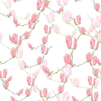 Бесшовные модели магнолии на белом фоне. красивая текстура с весенними цветами.