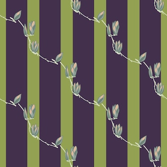 Seamless pattern magnolias on stripe green background. beautiful texture with flowers.