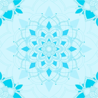 Seamless pattern of mandala in blue