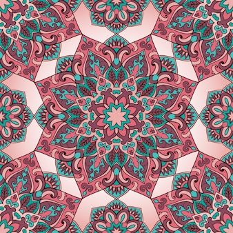 Seamless pattern of mandala on a pink background. colorful oriental ornament.