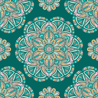 Seamless pattern mandala vintage design for printing. tribal ornament.